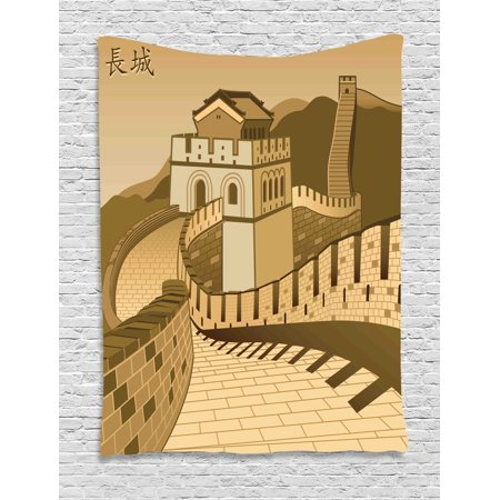 Asian Decor Wall Hanging Tapestry, Great Wall Of China With Ancient Castle  At Sunset Silk Road Barrier Old Cultural Heritage Print, Bedroom Living ...