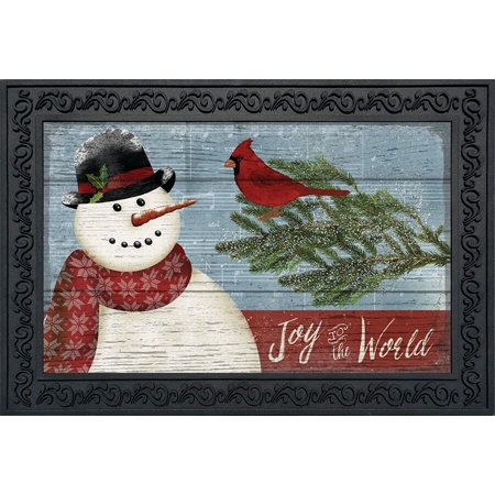 Joy to the World Snowman Christmas Doormat Primitive Indoor Outdoor 18