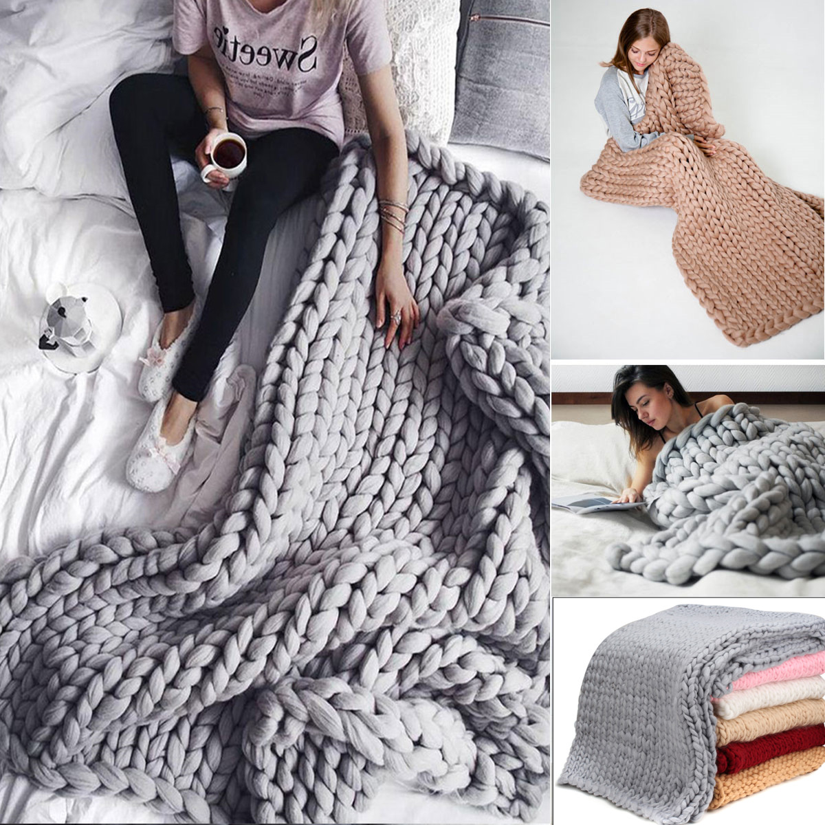 59''x39.4'' Hand-woven Bulky Winter Warm Soft Chunky Knit Blanket Thick Yarn Bedding Sofa Knitted Throw