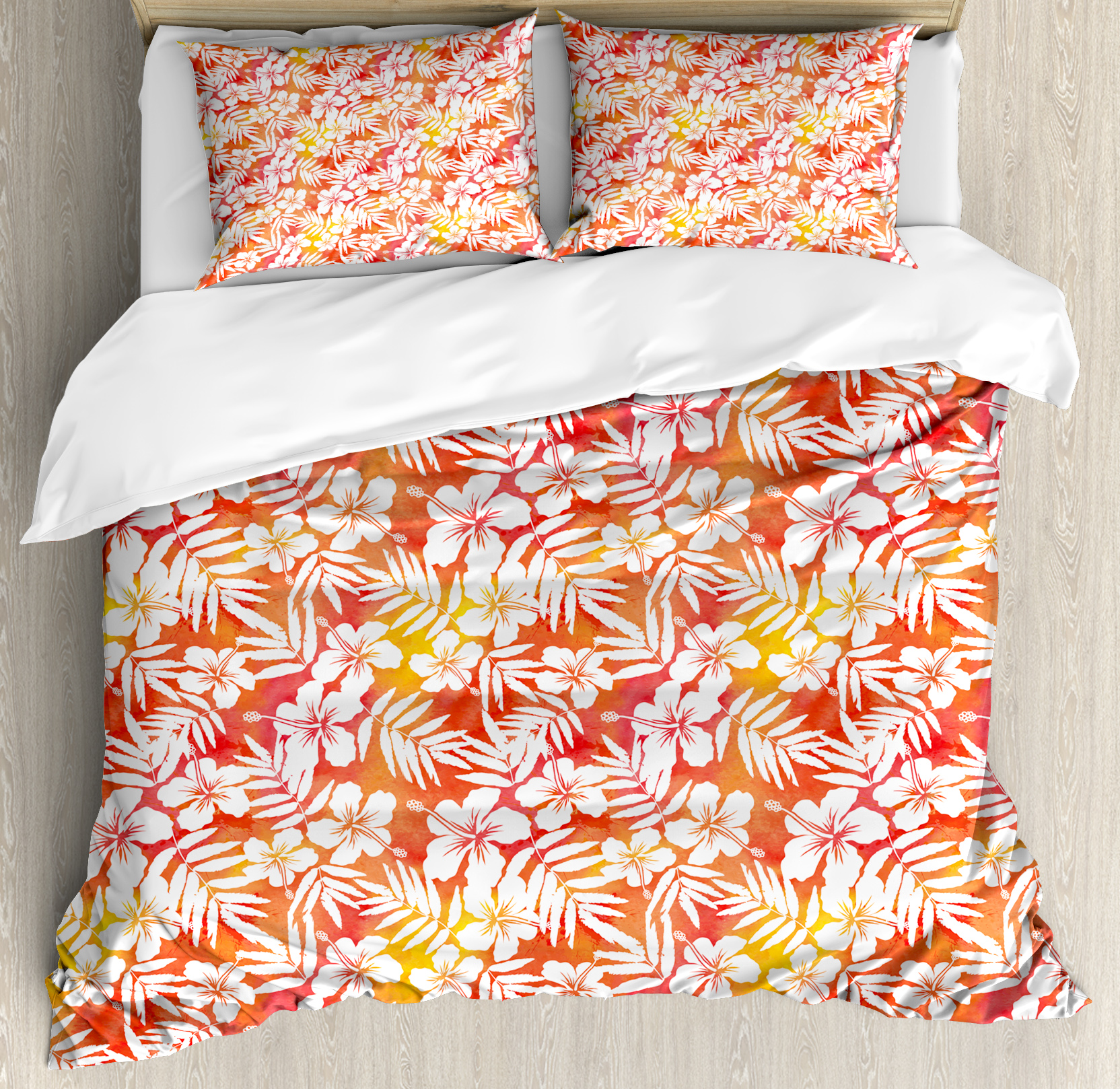 Orange Queen Size Duvet Cover Set, Fantasy Watercolor Backdrop with White Hibiscus Blossoms Leaves Aloha Jungle, Decorative 3 Piece Bedding Set with 2 Pillow Shams, Yellow Coral White, by Ambesonne