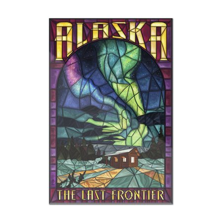 Alaska - Cabin & Northern Lights Stained Glass - Lantern Press Artwork (8x12 Acrylic Wall Art Gallery Quality)