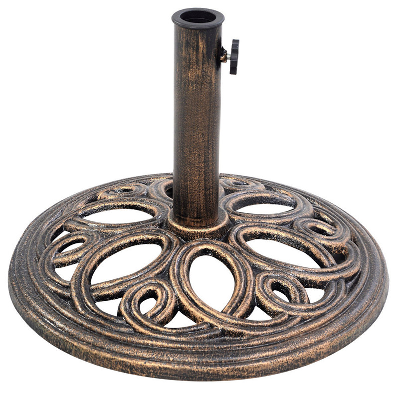 Gymax Patio Outdoor Round Umbrella Base Stand Cast Iron