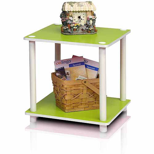 FURINNO 11214PI-GR/WH 2-Tier Dual-Sided Finished Square Corner Shelf, Pink/Green