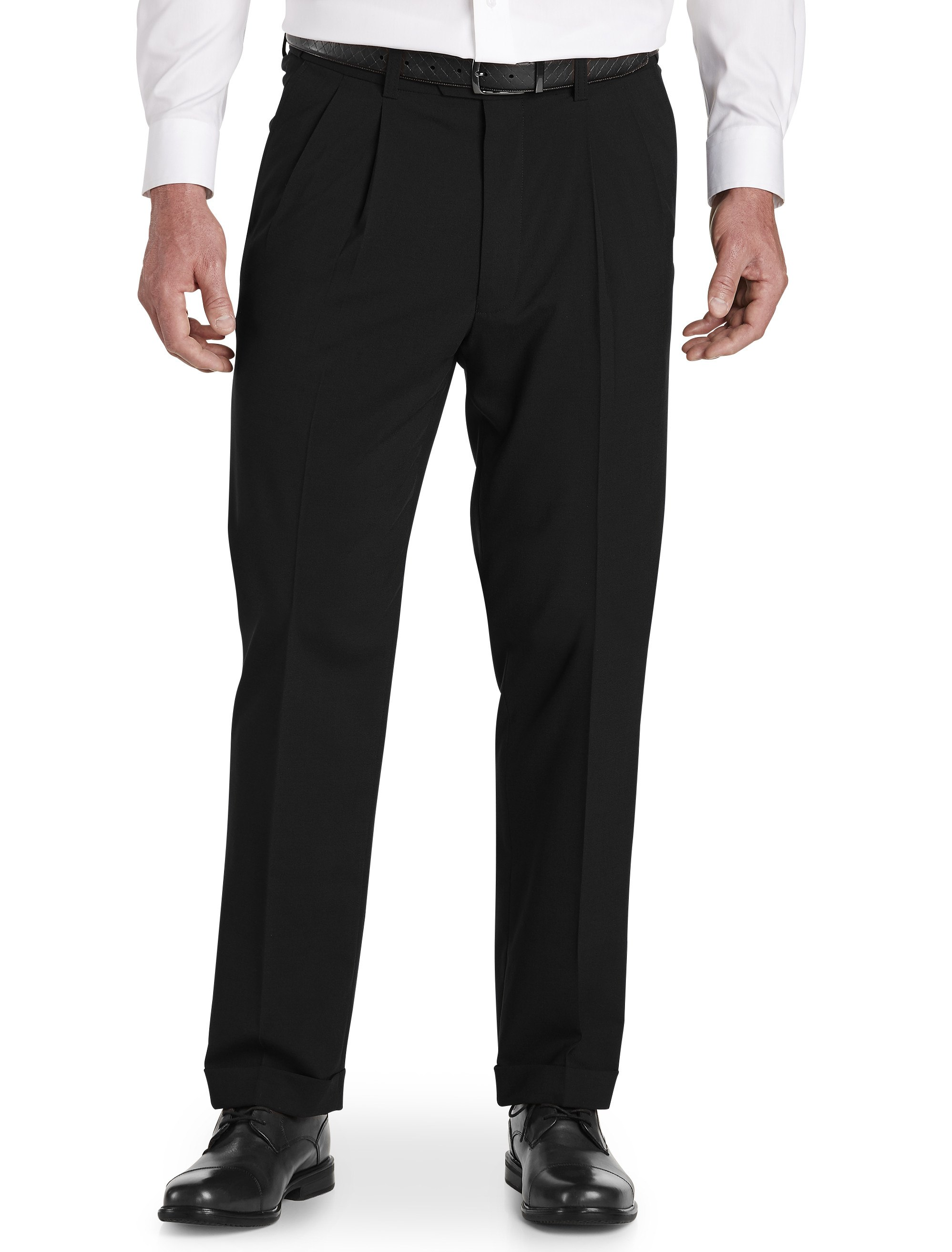 men's big & tall gold series perfect fit waist-relaxer hemmed pleated suit pants
