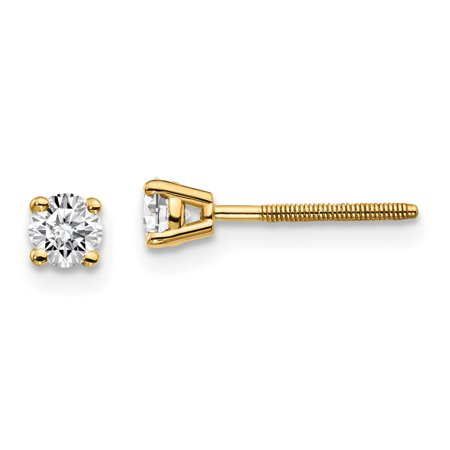 14K Yellow Gold VS2 and SI1 G-I Diamond Stud Thread On and Off Post Earrings (.30 Carat)