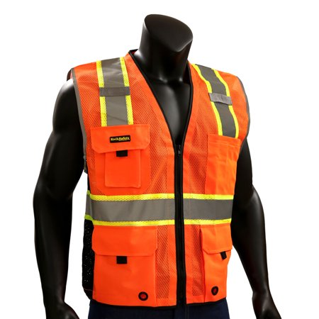 KwikSafety BIG KAHUNA Hi Vis Reflective ANSI PPE Surveyor Class 2 Safety Vest Size: L/XL, Color: Orange Class 1 Safety Vest