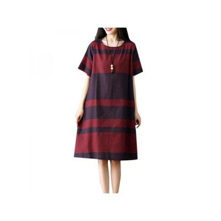 c6c5d71670f Ropalia - Ropalia Ladies Women Stripes Cotton linen Dresses Short Sleeve  Long Maxi Dress Casual Loose Summer Dresses - Walmart.com