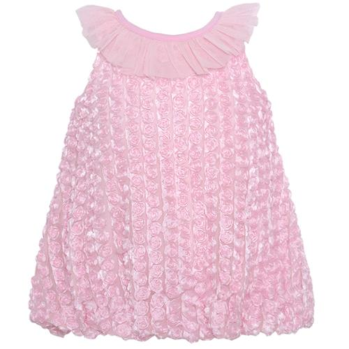 Rare Editions Baby Girls Pink Rosette Ruffled Neckline Occasion Dress 3-24M