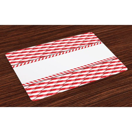 Candy Cane Placemats Set of 4 Horizontal Border Design with Abstract Traditional Food Pattern Taste of Xmas, Washable Fabric Place Mats for Dining Room Kitchen Table Decor,Red White, by Ambesonne ()