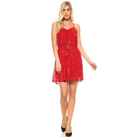 Sweet Racer (Women's Short Sweetheart Sequinned Dress with Racer Back )