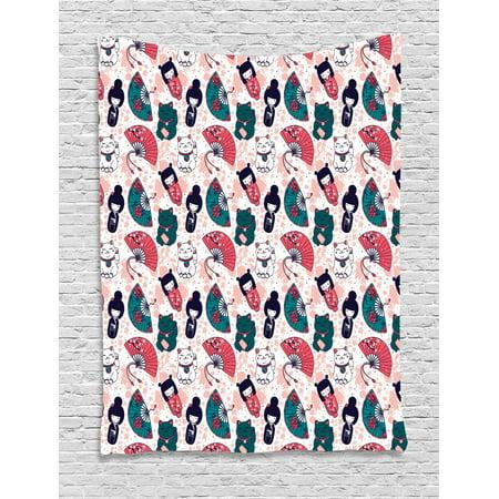 Japanese Cat Tapestry, Items Maneki Neko Geisha Fan Doodles Pattern, Wall Hanging for Bedroom Living Room Dorm Decor, Dark Teal Dark Coral and Dark Navy Blue, by Ambesonne ()