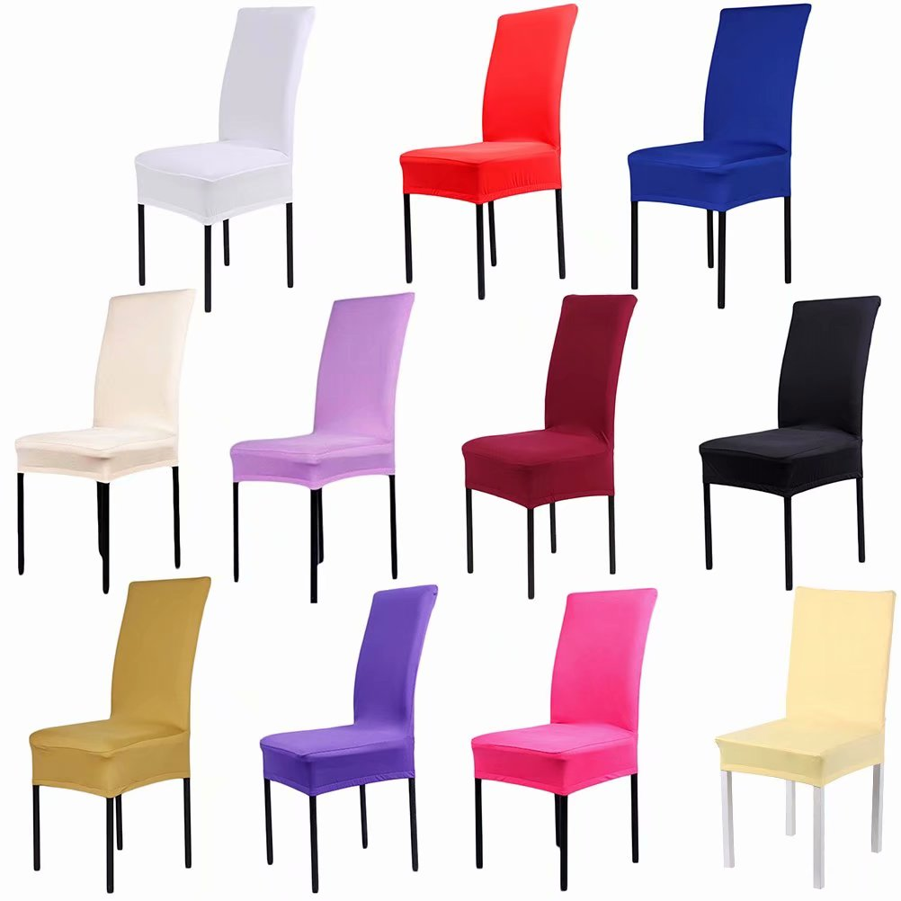 Stretch Spandex Washable Dining Stool Chair Cover Protector Seat Slipcover Wedding Banquet Party Decor, Hot Pink
