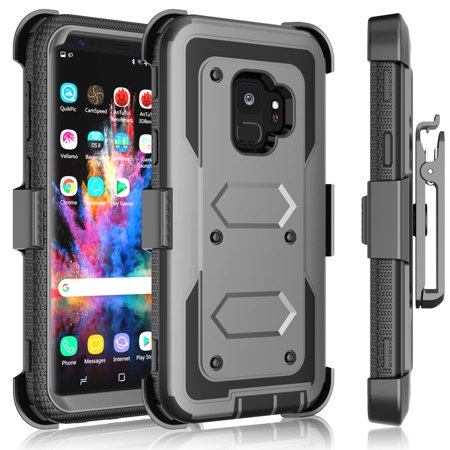 Galaxy S9 Case, Samsung Galaxy S9 Holster Clip, Tekcoo [Tshell] Shock Absorbing [Ash Gray] Secure Swivel Locking Belt Defender Heavy Full Body Kickstand Carrying Tank Armor Cases Cover - Kick Ass Halloween Costumes