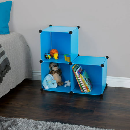 Storage Organizer Cube- 3 Cube Multipurpose Storage Shelf Bins for Toys School Supplies Sport Equipment Clothes and Books By Everyday Home- Blue - Supply Store