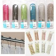 12 Pc Easy Glide Heavy Duty Hooks Decorative Shower Rod Curtain Rings Bathroom !