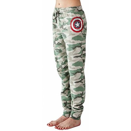 Marvel Captain America Shield Camouflage Women's Junior Fit Jogger Pants Leggings Lounge Sleep Bottom Sweatpants French Terry (XS) for $<!---->