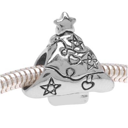 Silver Tone Double Sided Decorated Christmas Tree European Style Large Hole Bead (Double Hole Beads)