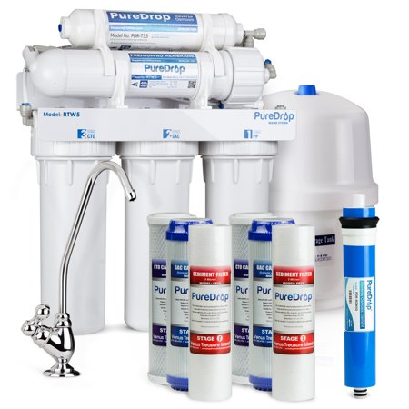 PureDrop RTW5 Under Sink 5 Stage Reverse Osmosis Drinking Water Filtration System with Extra Pre-Filter
