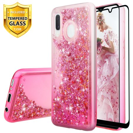 TJS Case Compatible for Samsung Galaxy A20/A30 2019, with [Full Coverage Tempered Glass Screen Protector] Bling Glitter Sparkle Liquid Infused and Stars Moving Quicksand Protector Phone Cover (Pink) (Samsung S3 Case Pink)