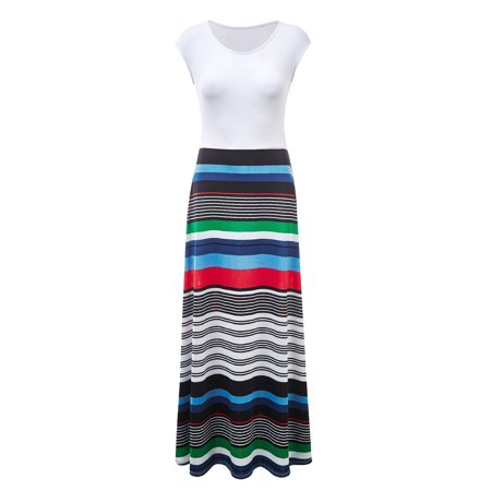- WDR1389 Womens Print Contrast Sleeveless Empire Line Maxi Dress XXXL BLACK_STRIPE