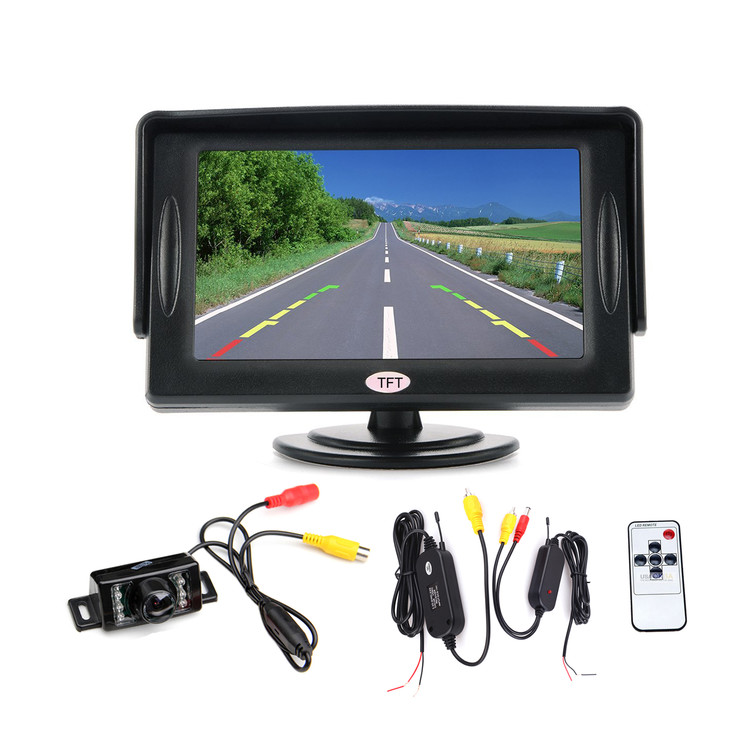 "4.3"" LCD Car Rear View Backup Monitor + IR Car Rear View Camera with AV Cable Video Transmitter Receiver"
