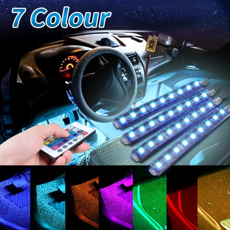 4-in-1 36LED RGB Car Interior Light 5050 SMD Vehicle Floor Decorative Strip At-mosphere Neon Light Kit & infrared Control Wireless Remote ()