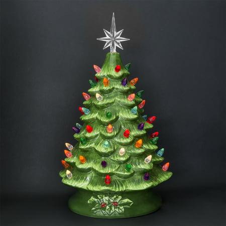Ceramic Christmas Tree.Prelit Ceramic Tabletop Christmas Tree W Multicolored Lights