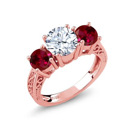 2.60 Ct White Topaz Red Created Ruby 18K Rose Gold Plated Silver 3-Stone Ring