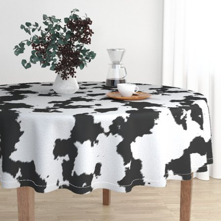 Round Tablecloth Dairy Rodeo Ranch Holstein Animal Print White Cotton Sateen - Animal Print Tablecloth