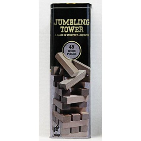 Solid Wood Jumbling Tower In A Tin by Cardinal Industries (48 Wood Pieces)
