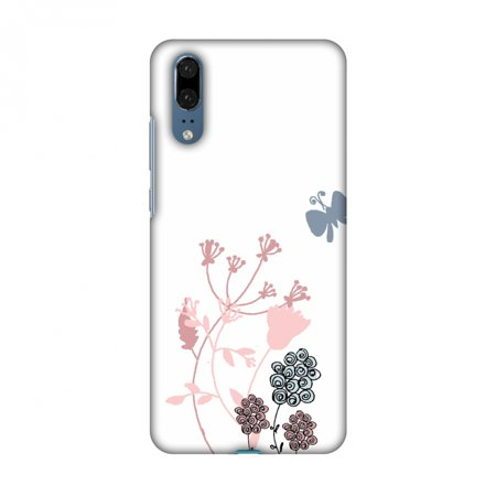 - Huawei P20 Case - Flowers and butterfly- White, Hard Plastic Back Cover, Slim Profile Cute Printed Designer Snap on Case with Screen Cleaning Kit