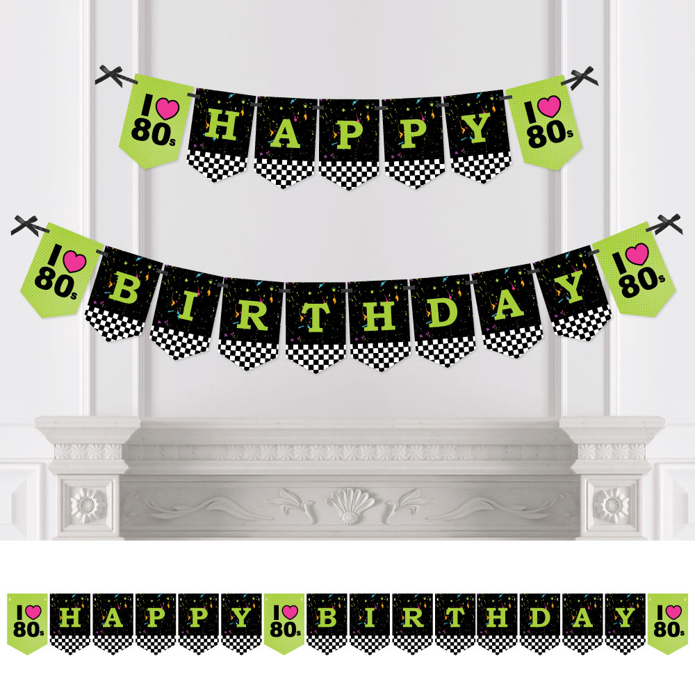 80's Retro - Totally 1980s Birthday Party Bunting Banner - Birthday Party Decorations - Happy Birthday