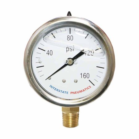 "Interstate Pneumatics G7022-160 Oil Filled Pressure Gauge 160 PSI 2-1/2"" Dia 1/4"" NPT Bottom Mount"
