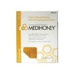 Medihoney Calcium Alginate Dressing with Manuka/Leptospermum Honey 4'' x 5'', 1 Count