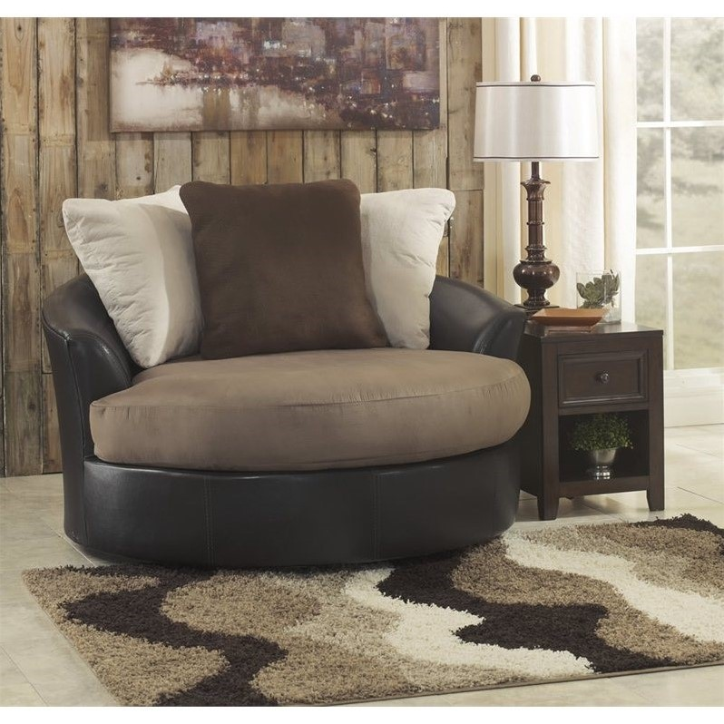 Ashley Masoli Faux Leather Oversized Swivel Accent Chair In Mocha