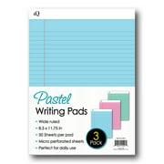 "iScholar iQ 3 Pack Pastel Writing Pads, Asst. Colors, 8.5"" x 11.75"" (58113)"
