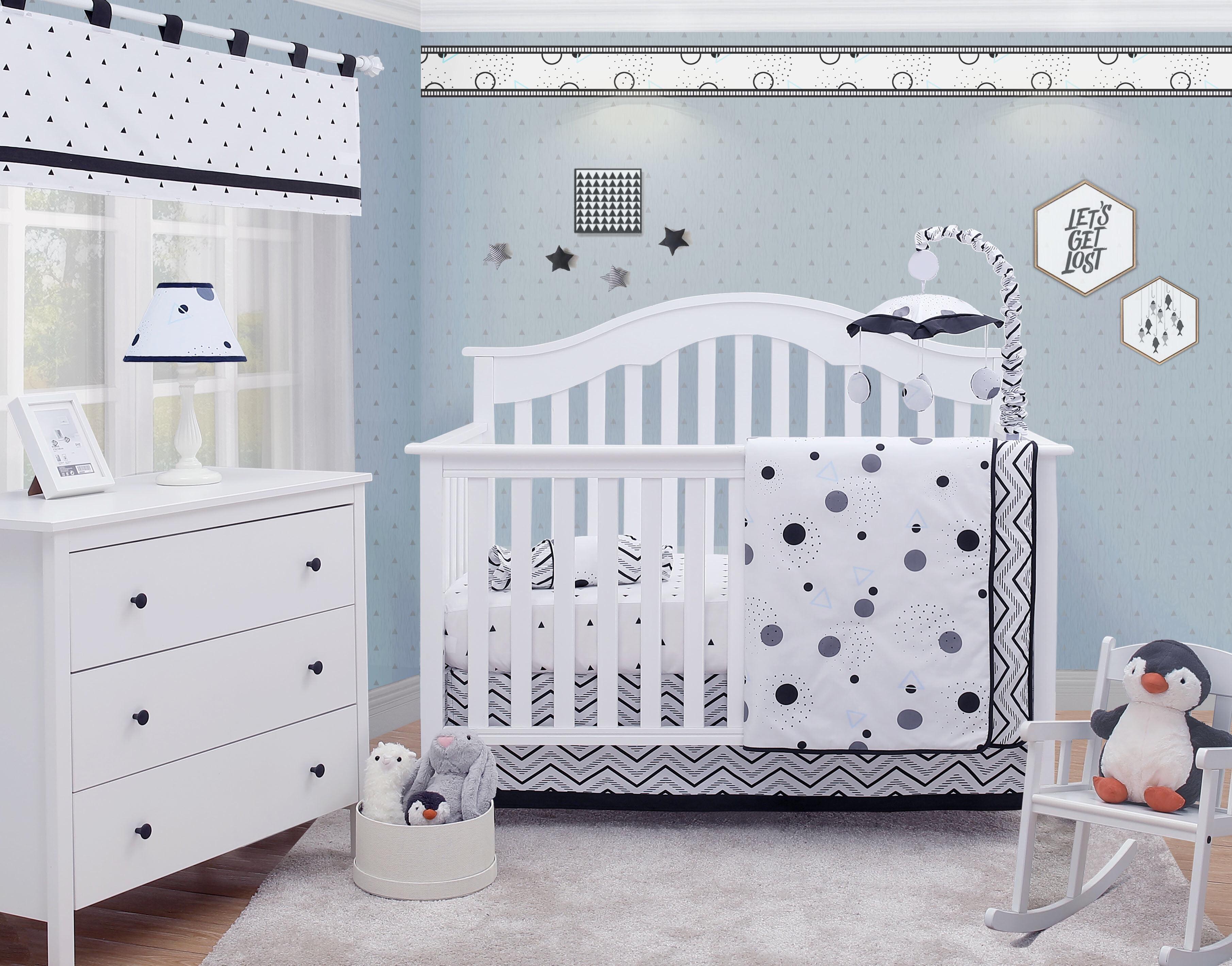Optimababy Black White Polka Dot Pattern 6 Piece Baby Nursery Crib Bedding Set Walmart Com Walmart Com