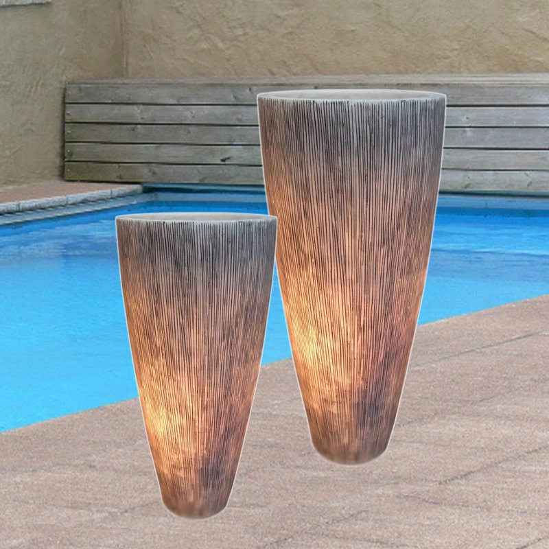Screen Gems Sandstone Ribbed Long Conical Planter with Light