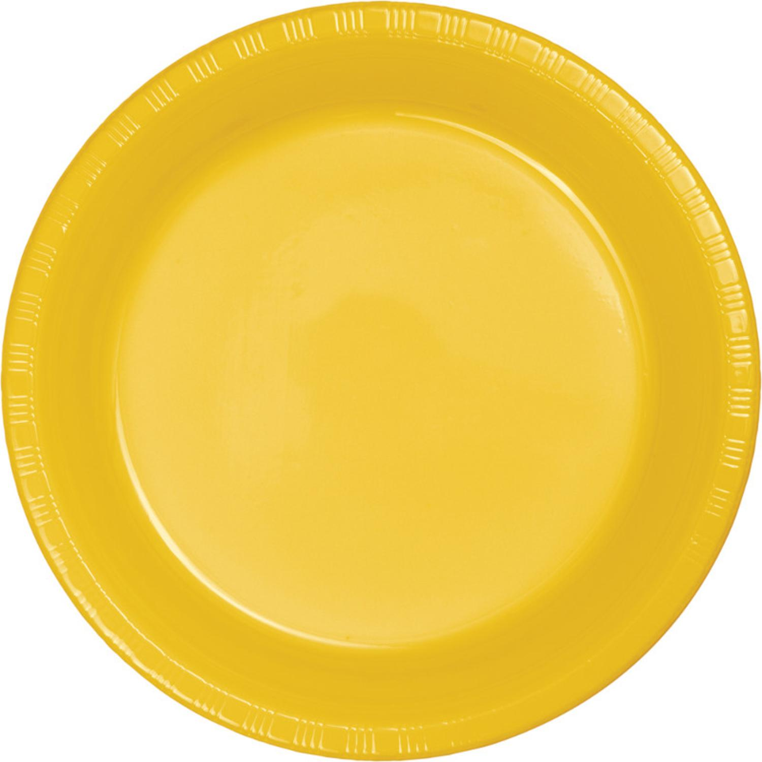 """Club Pack of 240 School Bus Yellow Disposable Plastic Party Lunch Plates 6.75"""""""