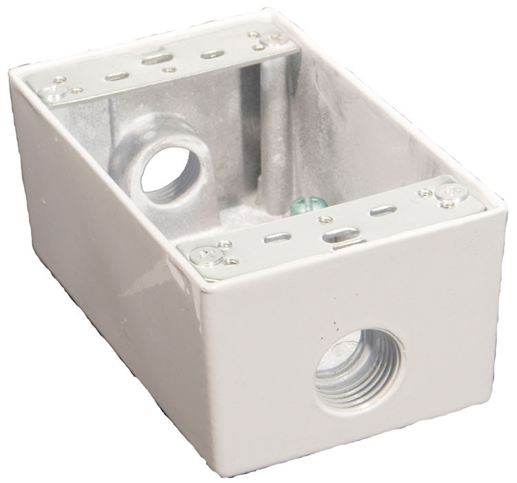 Weatherproof Boxes - One Gang 18 Cubic in Capacity - 3 Outlet Holes 1/2in. White