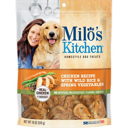 Milo's Kitchen Homestyle Dog Treats, Chicken Recipe With Wild Rice & Spring Vegetables, 18-Ounce Bag (Chicken Meatballs)