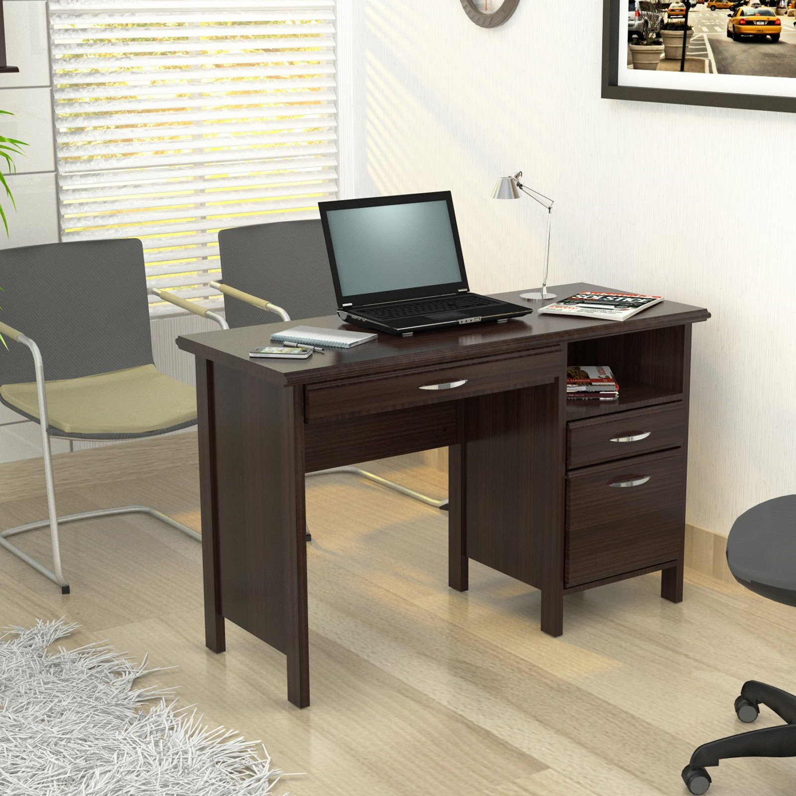 Inval Softform Computer Desk Espresso Wengue Finish