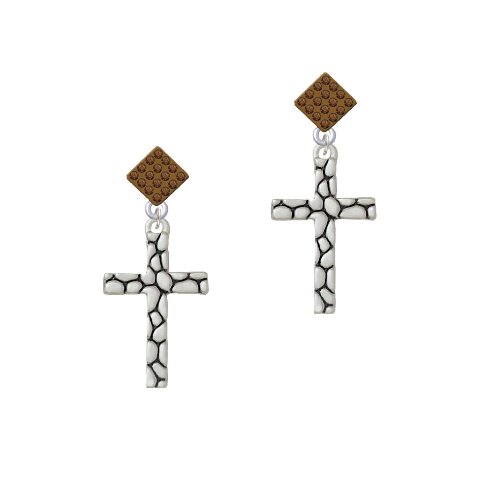 Pebble Cross Brown Crystal Diamond-Shape Earrings