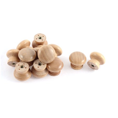 Easy Grip Wooden Handle - 12 Pcs Cabinet Drawer Cupboard Wooden Round Shape Handle Pull Knob Grip