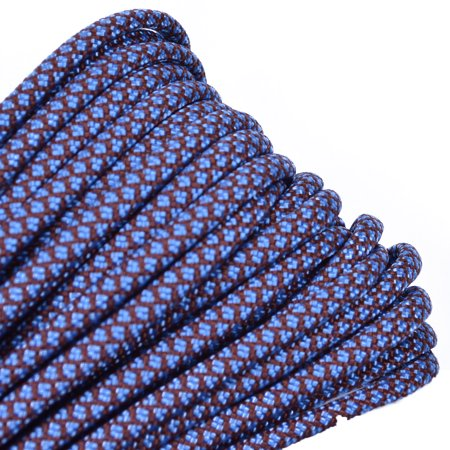 100 Feet High Quality Best Durability 550 lb Paracord - Chocolate and Tarheel Blue Diamonds Color - Bored Paracord