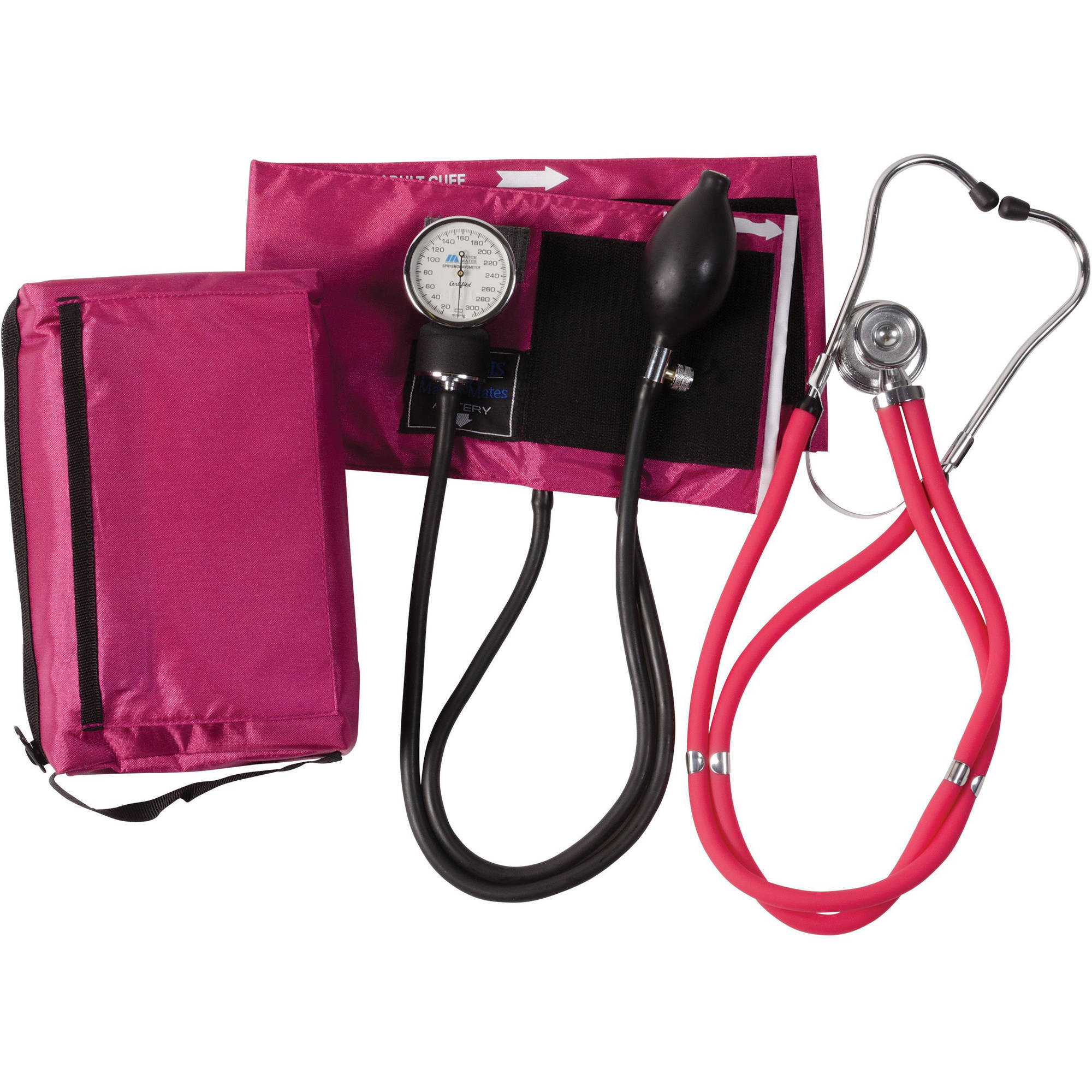 Mabis Blood Pressure Cuff with Aneroid Sphygmomanometer and Sprague Rappaport Stethoscope Combination, Manual Blood Pressure Kit with Calibrated Nylon Cuff for Nurses, Magenta