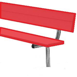 Powder-Coated In-Ground Player��������s Benches With Back-Color:Scarlet Red,Length:15'