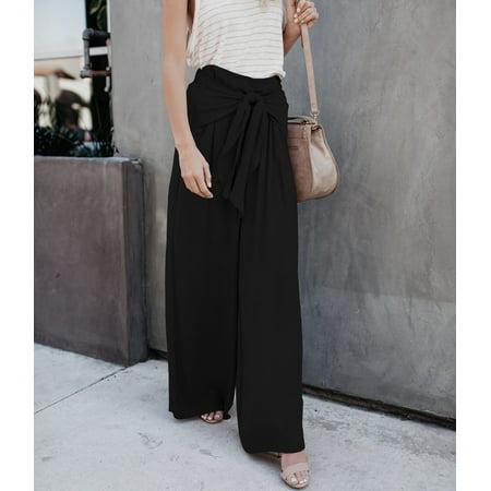 Waist Flare Leg Pant - Women Lace Up Loose High Waist Wide Leg Bell Bottom Palazzo Flare Pants