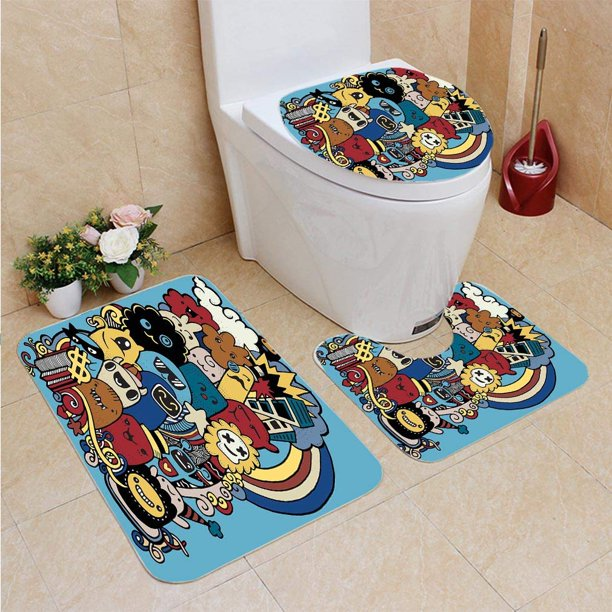 Bath Rug Contour Mat And Toilet Lid, Cool Bathroom Rugs