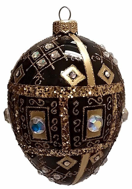 Black And Gold Jeweled Faberge Inspired Egg Polish Glass Christmas Ornament Walmart Com Walmart Com